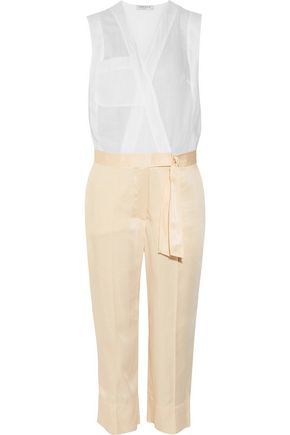 SANDRO Ramie and twill jumpsuit