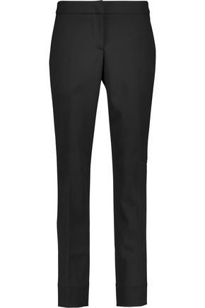 OSCAR DE LA RENTA Silk satin-trimmed stretch-wool tapered pants