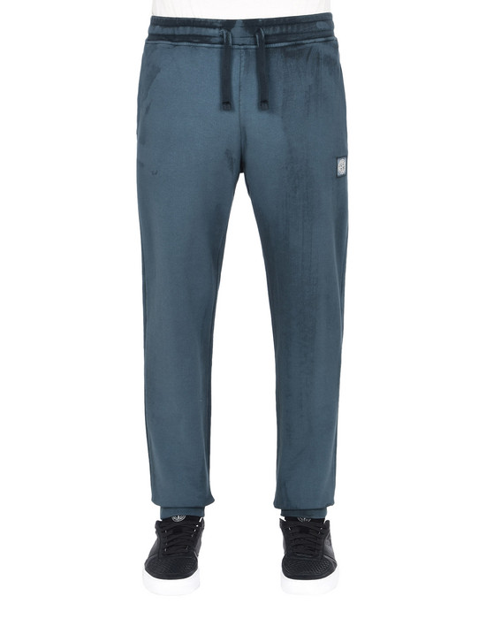 STONE ISLAND Fleece Trousers 66765 HAND BRUSHED COLOUR TREATMENT