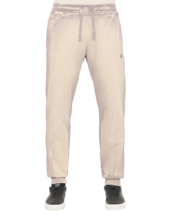 STONE ISLAND Fleece Pants 66765 HAND BRUSHED COLOR TREATMENT