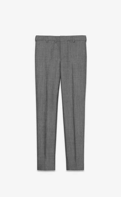 Low-waisted trousers in gray mohair wool