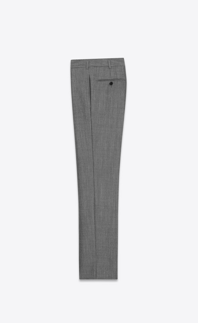 SAINT LAURENT Classic Pant U Low-waisted trousers in gray mohair wool b_V4