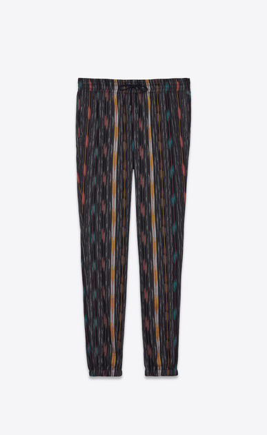 SAINT LAURENT Classic Pant U Jogging pants in cheesecloth with ikat patterns a_V4