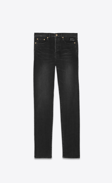 SAINT LAURENT Slim fit Uomo jeans neri in denim slim con ricamo saint laurent a_V4