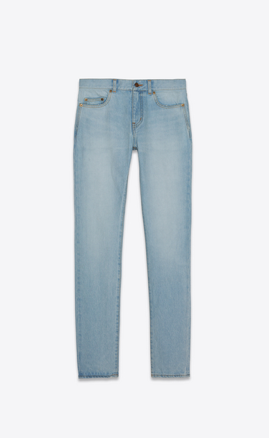 SAINT LAURENT Skinny fit Man low-waisted skinny jeans in faded sky blue denim a_V4