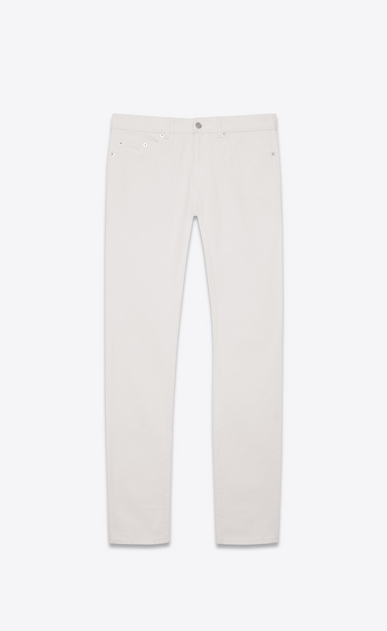SAINT LAURENT Skinny fit U Jean skinny taille basse en denim stretch blanc a_V4
