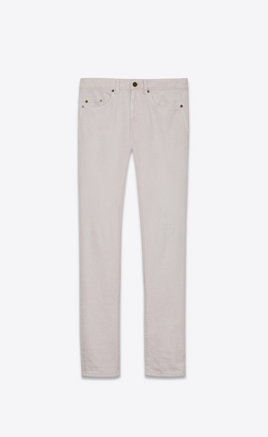 SAINT LAURENT Skinny fit U Jean skinny taille basse en denim rose poudré a_V4