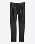 SAINT LAURENT Classic Pant U Front-pleated low-waisted trousers in iridescent grained black leather. f