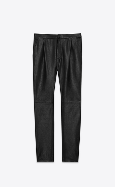 SAINT LAURENT Classic Pant U Front-pleated low-waisted trousers in iridescent grained black leather. a_V4