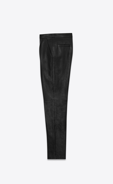 SAINT LAURENT Classic Pant U Front-pleated low-waisted trousers in iridescent grained black leather. b_V4