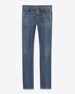 SAINT LAURENT Skinny fit U Low-waisted skinny jeans in faded blue denim f