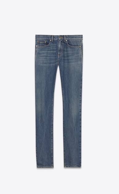 SAINT LAURENT Skinny fit U Low-waisted skinny jeans in faded blue denim a_V4
