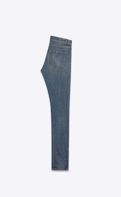 SAINT LAURENT Skinny fit U Low-waisted skinny jeans in faded blue denim b_V4