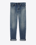 SAINT LAURENT Baggy U Baggy jeans in worn and faded blue denim f