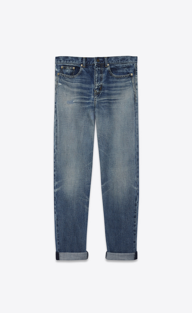 SAINT LAURENT Baggy U Baggy jeans in worn and faded blue denim a_V4