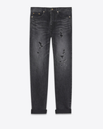 SAINT LAURENT Baggy U Repaired baggy destroy jeans in faded black denim f
