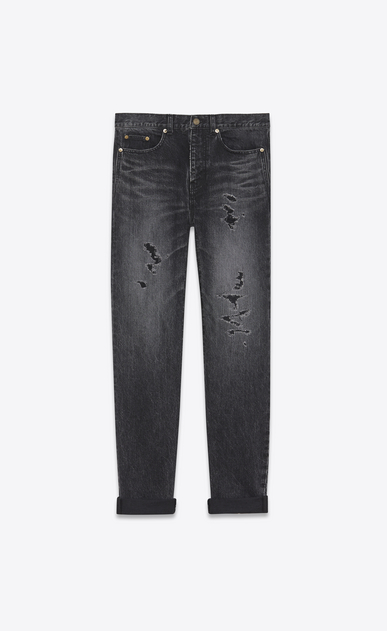 Repaired baggy destroy jeans in faded black denim