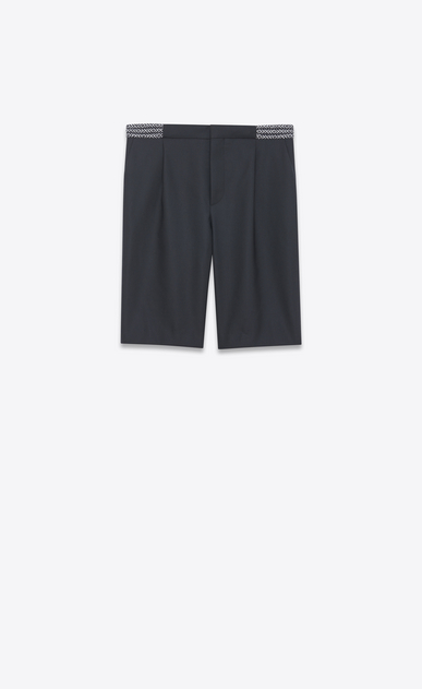 SAINT LAURENT Classic Pant Man Black mohair Bermudas with ethnic waist a_V4