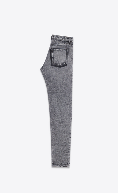 SAINT LAURENT Slim fit Uomo Jeans slim in denim nero sbiadito con ricamo e patch b_V4