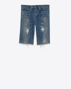SAINT LAURENT Baggy U Repaired destroy Bermuda in faded blue denim f