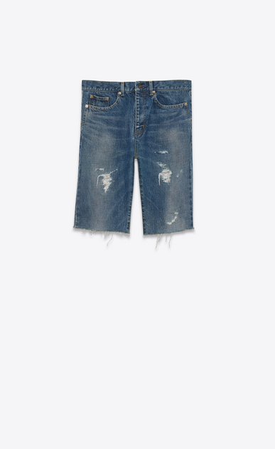 SAINT LAURENT Baggy U Repaired destroy Bermuda in faded blue denim a_V4