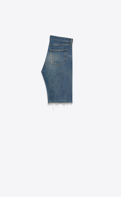 SAINT LAURENT Baggy U Repaired destroy Bermuda in faded blue denim b_V4