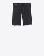 SAINT LAURENT Baggy U Raw-edged Bermudas in faded black denim f