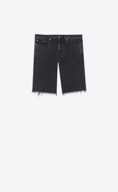 SAINT LAURENT Baggy U Raw-edged Bermudas in faded black denim a_V4