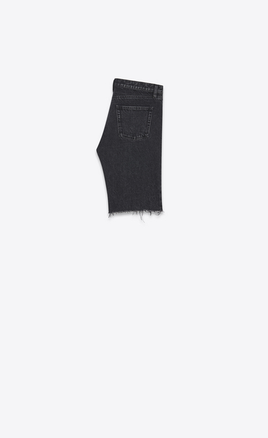 SAINT LAURENT Baggy Man Raw-edged Bermudas in faded black denim b_V4