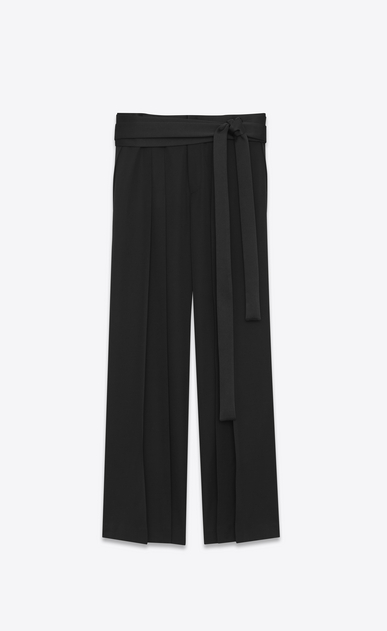 SAINT LAURENT Classic Pant U HAKAMA trousers belted in black organic gunpowder a_V4