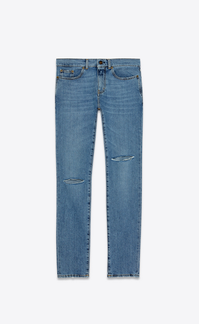 SAINT LAURENT Skinny fit Man low-waisted ripped skinny jeans in faded blue denim with black spots a_V4