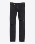 SAINT LAURENT Skinny fit U Low-waisted ripped skinny jeans in faded black denim f