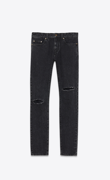 SAINT LAURENT Skinny fit U Low-waisted ripped skinny jeans in faded black denim a_V4