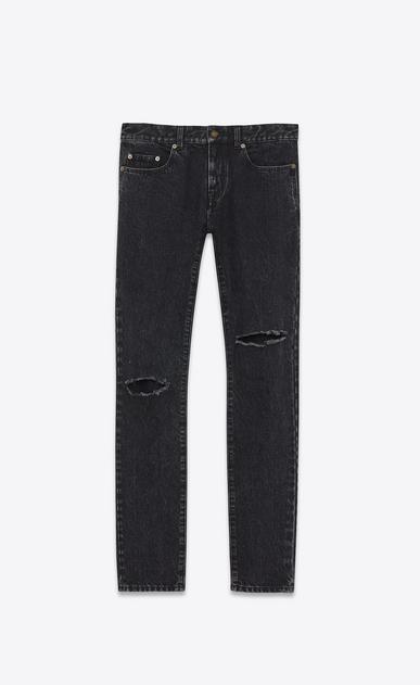SAINT LAURENT Skinny fit U Low-waisted ripped skinny jeans in faded black denim v4
