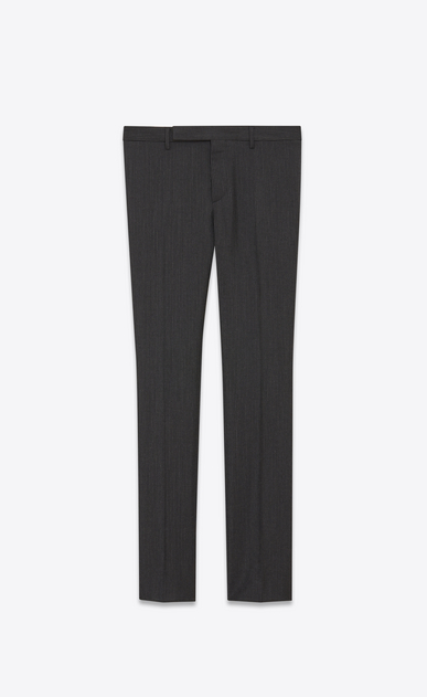 SAINT LAURENT Classic Pant U Trousers with dashed stripes in black mohair wool a_V4