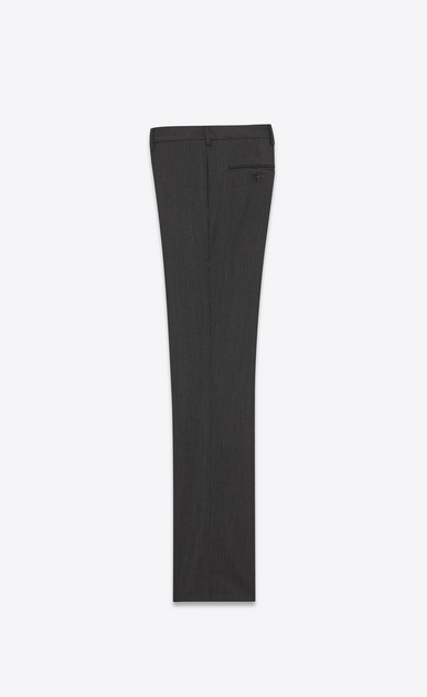 SAINT LAURENT Classic Pant U Trousers with dashed stripes in black mohair wool b_V4