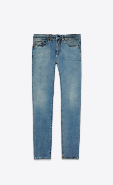 SAINT LAURENT Skinny fit Man low-waisted skinny jeans in faded blue denim with black spots a_V4