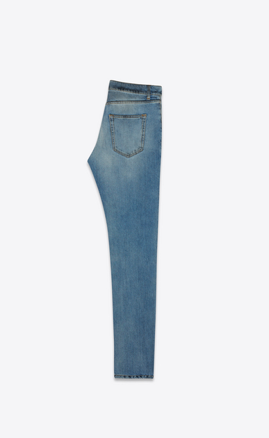 SAINT LAURENT Skinny fit Man low-waisted skinny jeans in faded blue denim with black spots b_V4