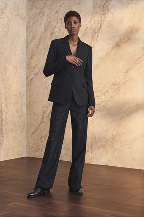 IRIS AND INK Stella pinstriped brushed-twill straight-leg pants