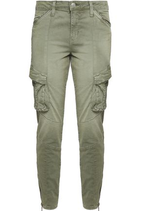L'AGENCE Stretch-cotton skinny cargo pants