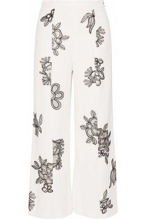 ROLAND MOURET Floral-appliquéd cady wide-leg pants