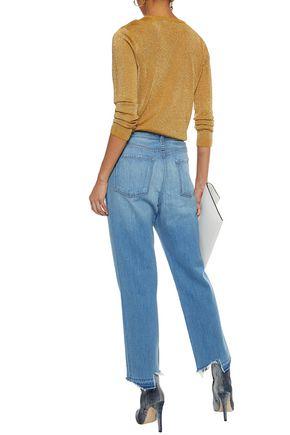 J BRAND Ivy distressed high-rise straight-leg jeans