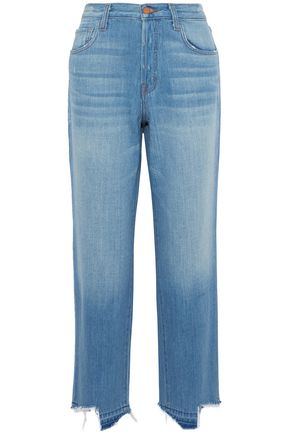 J BRAND Ivy distressed high-rise straight-leg jeans