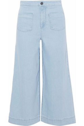 ALICE + OLIVIA Cotton-paneled high-rise flared jeans