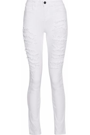 ALICE+OLIVIA Distressed high-rise skinny jeans