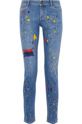 ALICE + OLIVIA Painted low-rise skinny jeans