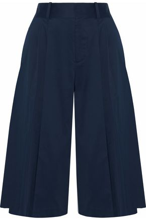 ALICE + OLIVIA Pleated cotton-blend culottes