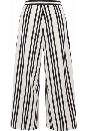 ALICE + OLIVIA Striped crepe de chine culottes