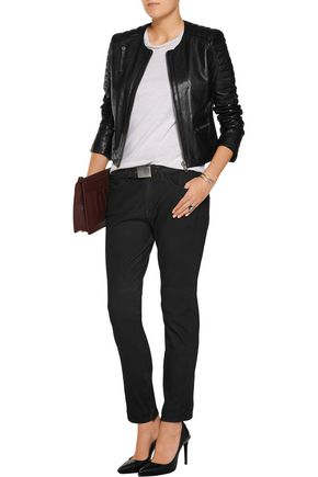 CURRENT/ELLIOTT The Fling mid-rise leather skinny jeans