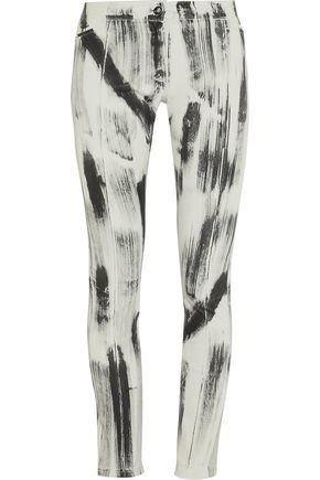 Printed stretch-leather skinny pants